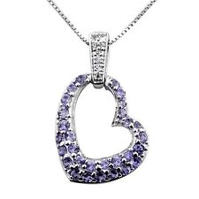 Natural Tanzanite and White Topaz heart shaped pendant Necklace Sterling silver
