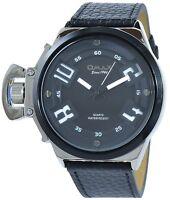 Omax Men's Quartz Watch Black Silver Analogue Metal Leather G-60356118743835