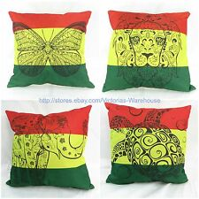 wholesale 4pcs rasta reggae butterfly lion turtle elephant cushion cover cotton