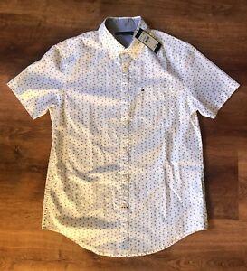 Tommy Hilfiger Short Sleeve Button Down Shirt USA Stars Print Men's Size M