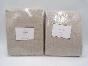 "Pottery Barn Emery Linen Cotton Lined Curtain Drape Oatmeal 50 x 96"" S/2 #8827A"