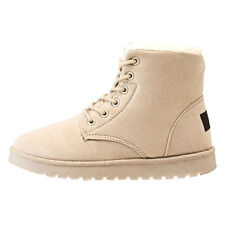 Winter Ladies Fashion Boots Suede Ankle Snow Boots Warm Fur Plush Insole Lace-Up