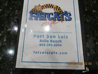 FATCAT'S CAFE MENU PORT SAN LUIS AVILA BEACH CALIFORNIA.