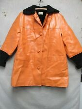 V6640 Minnesota Woolen Orange Faux Leather w/Black Knit 60's Coat Women's L