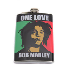 One Love Bob Marley Stainless Steel Hip Flask With Screw On Hinged Cap
