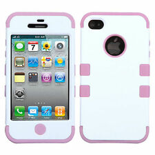for iPhone 4 4G 4S White Baby Pink Dual Armor Impact Hard&Soft Rubber Case Cover