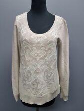 WHITE HOUSE BLACK MARKET Gray Silver Metallic Paisley Print Sweater Sz M DD8663
