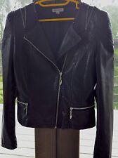 Women's Black Vegan Leather Retro Style Moto Jacket Size M Rap - $119