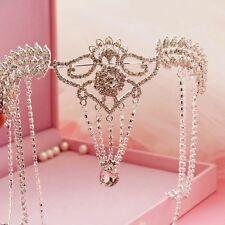 Vintage Tiara Silver Crystal Chain Wedding Bridal Head Crown Frontlet Jewelry