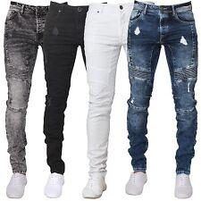 Enzo Mens Super Skinny Fit Ripped Jeans Stretch Biker Distressed Denim Pants