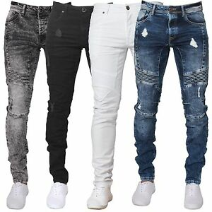Enzo Mens Super Skinny Fit Ripped Jeans Stretch Biker Distressed Denim Pants