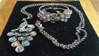 JTV Women's Dangle Peacock Necklace & Bracelet Multi Color Crystal Black Tone