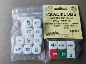 Decimal Dice and Fractions Dice Home School Kids Math Learning Teacher 16 Dice