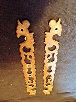 Paire d'anciennes entrées de serrures en métal-Art Déco-Coq-meuble/armoire