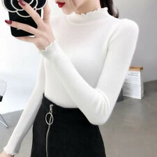 Women Solid Knitted Sweater Turtleneck Jumper Slimming Pullover 8 Color MC