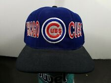 VTG Chicago Cubs Blue Black Snapback Hat Starter Cap MLB Rare 90's Baseball