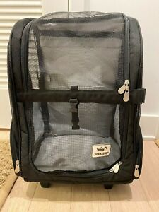 Snoozer Pet Products Roll Around 4-in-1 Travel Dog Carrier Backpack Black, Large