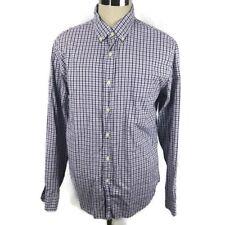 J. Crew Mens Shirt Large Sunwashed Oxford Purple Plaid Button Front