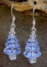 Light Sapphire Blue Christmas Swarovski Crystal Bead Christmas Tree Earrings #9t