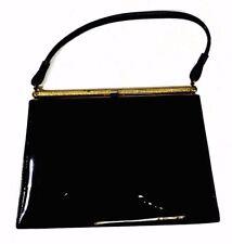 Vintage Handbags Clasp Frame Single Compartment Purse Black Faux Patent Leather