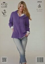 KNITTING PATTERN Ladies Long Sleeve Hooded Jumper with Pockets DK King Cole 3954