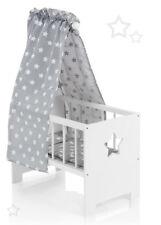 Sun Puppenbett mit Himmel Sternchen aus Holz (Weiß-Grau)