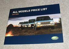 LAND Rover listino prezzi 2004 Range Rover Freelander Defender Discovery ES Premium