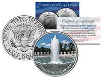 WORLD WAR II MEMORIAL ** Washington D.C. ** JFK Kennedy Half Dollar U.S. Coin