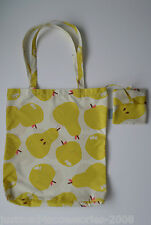 RADLEY - APPLES AND PEARS - YELLOW & STONE -  FOLDAWAY TOTE SHOPPER BAG & POUCH