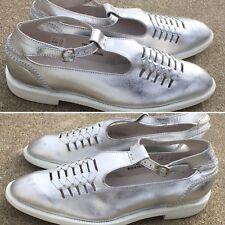 Swear London Shoes Silver Metallic Leather W/ White Soles Viennetta 15 Sz EU 41