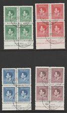 NEW GUINEA 1937 CORONATION IN BLOCKS OF FOUR SG 208-211 FINE USED.