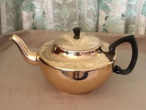 Vintage Anodised Gold Large Towerbrite Teapot Bakelite Handle Made In Australia.