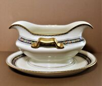 Rosenthal Bavaria Orelay Gravy Boat Attached Underplate Cream Gold Trim 8""