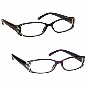 UV Reader Womens Ladies Diamonte Style Reading Glasses
