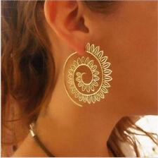 Women Circles Round Spiral Tribal Hoop Leaf Ear Stud Piercing Jewelry Earrings