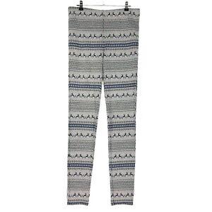 Free People Leggings womens S Gray Blue High Rise Knit Fair Isle Soft Reindeer