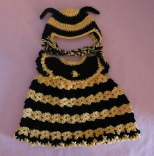 """American Girl Doll Clothes Crochet Yellow Bee Dress & Hat Fit American Girl 18"""""""