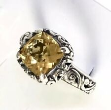 Sterling Silver Square Shaped Faceted Citrine Filigree Ring Size 8 1/4 R032114