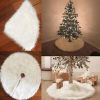 Christmas Long Plush Tree Skirt Base Floor Mat Cover DIY Xmas Party Decoration