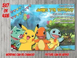 Pokemon Digital Invitation, Party, Birthday, Invite, evite Pikachu