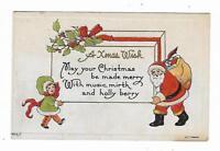 1913 Christmas Postcard Santa Claus Toys Little Girl Embossed Bergmann