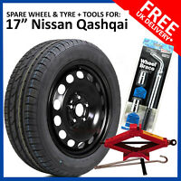 "17"" SPARE WHEEL FOR NISSAN QASHQAI 2007 - 2019 FULL SIZE  215/60R17 TYRE + TOOLS"