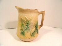 Antique Majolica Pottery Yellow Creamer Floral & Basketweave AS IS