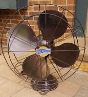 "Vintage R&M Banner Oscillating Fan-18""-2 Speed-Brown-Heavy Metal-Art Deco"