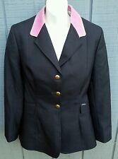 JOHN WHITAKER Ladies SZ 36 Horse Show Coat Riding Jacket Navy w/Mauve Collar VGC