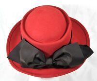 Bollman Hat Company Importina Women's 100% Wool Doeskin Felt USA Red Black Bow