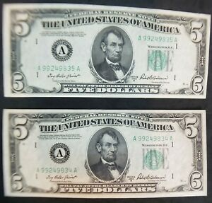 1950 D Series $5.00 Federal Reserve Notes(2 note LOT) CRISP/CONSECUTIVE#s too!