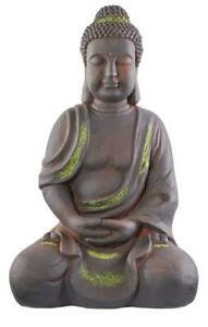 XXL Antiker Buddha 42cm Garten Deko Skulptur Feng Shui sitzend Figur grau/grünW