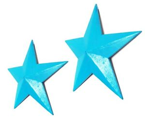 Hanging star wooden wall decoration teal blue 39 or 52cm vintage Retro style~NEW