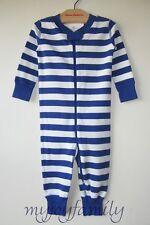 HANNA ANDERSSON Baby Organic Zip Sleeper Deep Blue Sea Stripe 80 18-24 month NWT